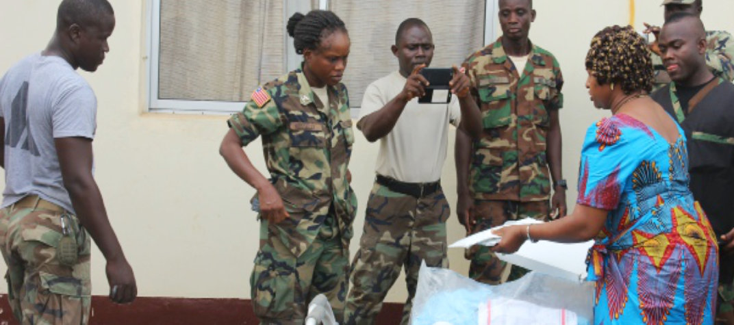 military volunteers in an outreach program
